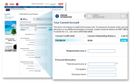 do you need additional credit you can request a credit limit increase right online well evaluate your account and respond within 2 business days
